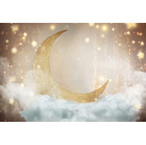 Cassisy 1,5x1m Vinilo Telon de Fondo Telón de Fondo del Cielo Estrellado Decoración de 1er cumpleaños Luna Lentejuelas Nubes Fondos para Fotografia bebé Infantil Photo Studio Props Photo Booth