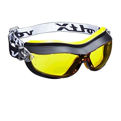 voltX 'DEFENDER' Compact Geventileerde Veiligheidsbril Geel, CE EN166FT Gecertificeerd, Anti-Mist Coating (+2,5 Dioptrie Lens)