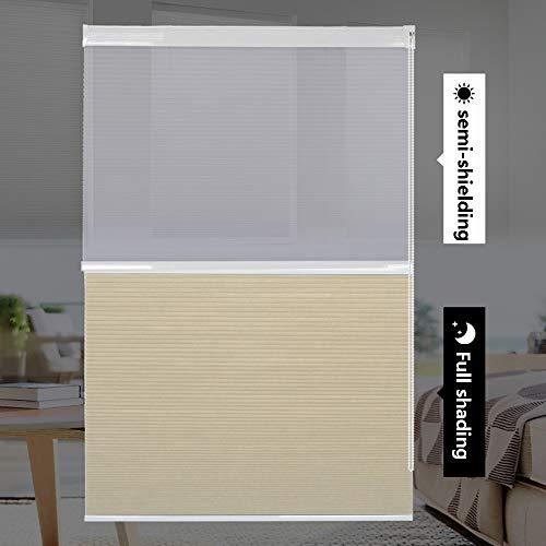 YUDEYU Sombra Cortina Uso Dual Sombreado Completo/Medio Persiana Enrollable Sin Perforaciones Instalación Rápida Protección Solar (Color : Beige, Size : 60x210cm)