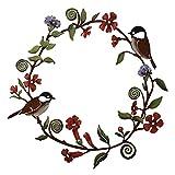 YO-HAPPY Guirnalda de flores de metal para colgar en la puerta delantera de pájaros, diseño de flores