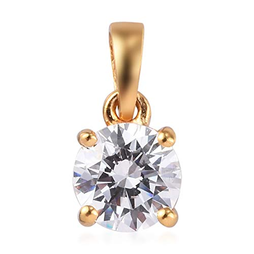J Francis Solitaire Pendant Made with Swarovski Zirconia for Women in 14ct Gold Plated 925 Sterling Silver Christmas Gift/Engagement Jewellery, TCW 10ct