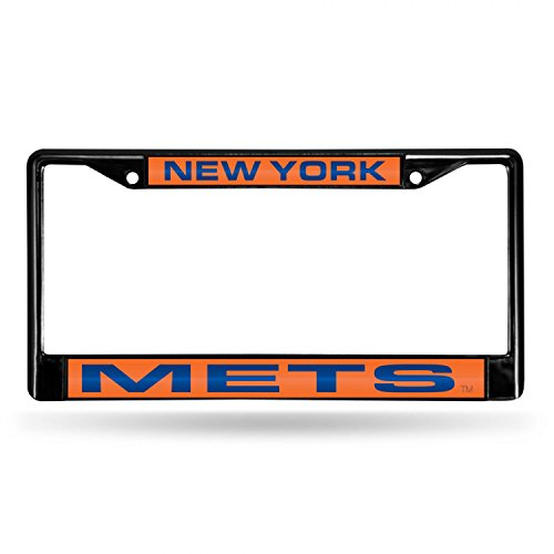 Rico Industries RIC-FCLB5801 New York Mets MLB Laser Cut Black License Plate Frame