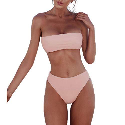 Ducomi Kim Costume Donna Mare Due Pezzi - Costume da Bagno con Fascia Push Up e Brasiliana Vita Alta - Costumi Bikini Imbottito Sexy da Spiaggia per Un Estate alla Moda (Pink, S)