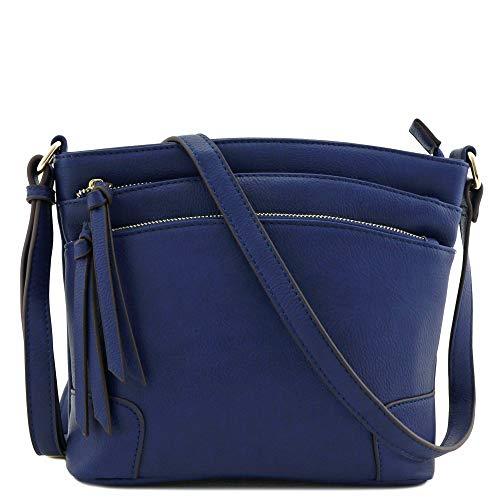 Triple Zipper Pocket Medium Crossbody Bag (Navy)