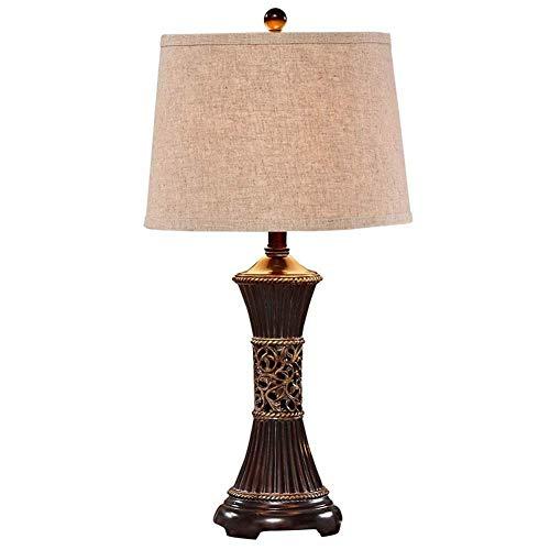 Lámpara de escritorio Lámpara de mesa modernaLámpara demesita de noche con pantalla detelaLuz de lectura europea con base de resina para oficina dormitorio sala de estar (27X1)Lámpara de