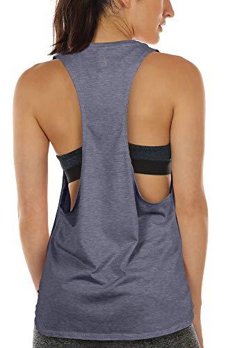 icyzone Sueltas y Ocio Camiseta sin Mangas Camiseta de Fitness Deportiva de Tirantes para Mujer (S, Azul)