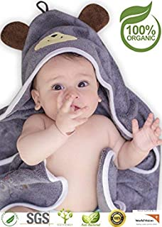 Premium Hooded Baby Towel, 100% Organic Bamboo, Free Baby Bib or Gloves, Baby Shower..