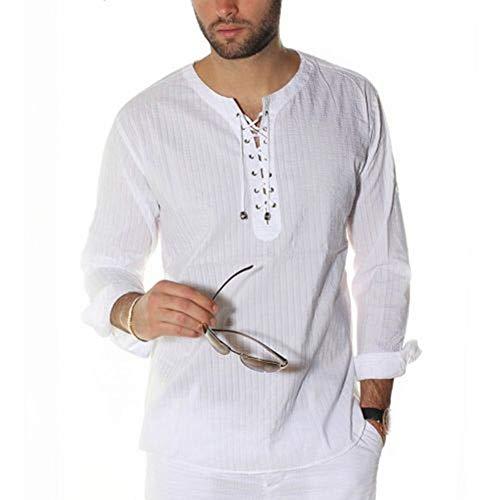 CLZC heren blouse casual lange mouwen tuniek met snoeren effen kleuren heren vintage slim