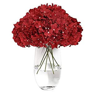 Tifuly Artificial Hydrangea Flowers 12 Fake Hydrangea Silk Flowers for Wedding Centerpieces Bouquets DIY Floral Decor Home Decoration (Wine Red)