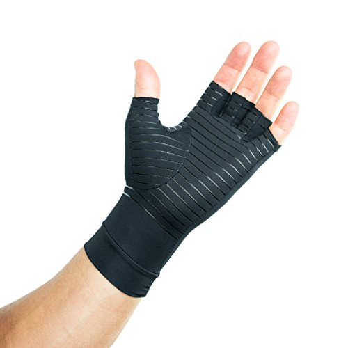 Compression Gloves Infused with Copper | Arthritis | Rheumatoid | Carpal Tunnel | Sports | Muscle & Joint Pain | Men and Women (Unisex) (Medium)