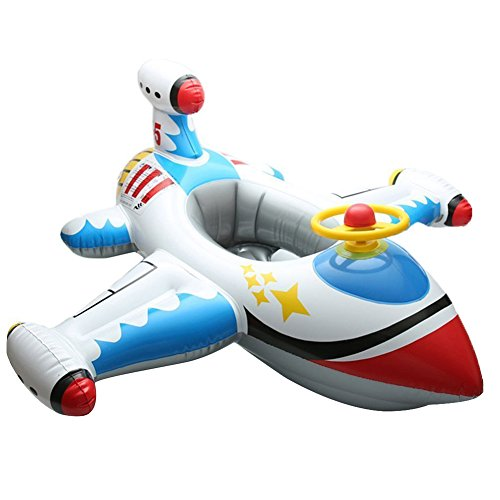 Willcome Inflatable Airplane Float Seat with Steering Wheel Swimming Ring Pool Toy for Children Kids Age 1-4 Years