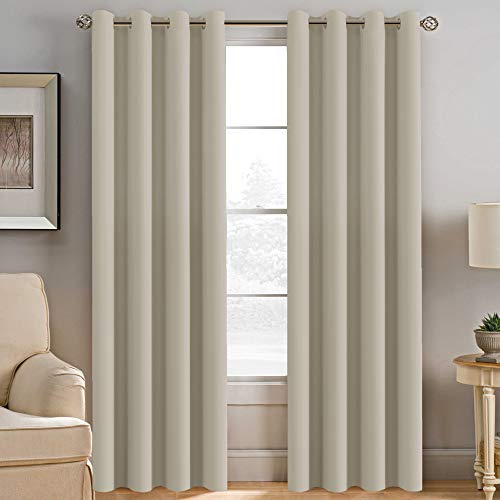 H.Versailtex Window Treatment Blackout Thermal Insulated Room Darkening Solid Grommet Curtains / Drapes for Bedroom (Set of 2 Panels, 52 by 84 Inch Long , Cream)
