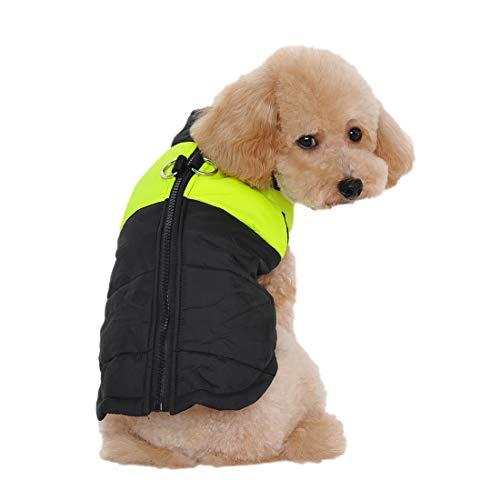 Outdoor gewatteerd vest voor kleine middelgrote en grote honden Step-in puppy gewatteerde huisdieren kleding warm winterjas hond gilet dog coat, Medium, groen