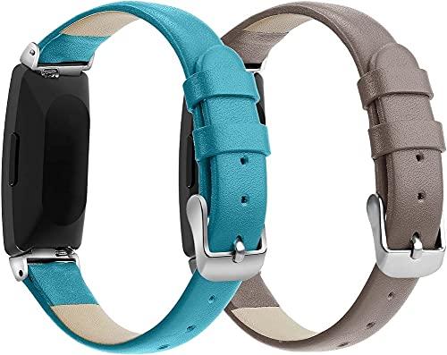 Reloj de Correa Cuero Compatible con Fitbit Inspire HR/Inspire, Hombre Repuesto La Correa (Pattern 3+Pattern 6)