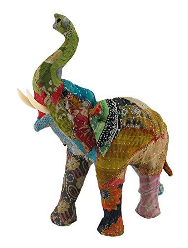 Vintage Sari cubierto de tela papel maché Elefante Escultura 13en.