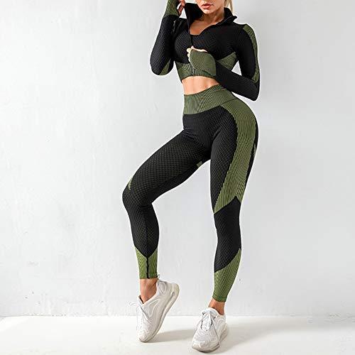 Pantalones Coat Gimnasio Desgaste Mujeres Traje Yoga Señoras para Mujer del Salón Conjuntos De Desgaste del Entrenamiento De La Ropa del Manga Larga para 2pcs Deportes M Green