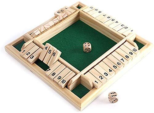 AULLY PARK Juego de mesa de madera Deluxe de 2 a 4 jugadores, juego de mesa clásico de madera, juego educativo para toda la familia, 8,85 x 8,85 x 1,37 pulgadas (color: verde)