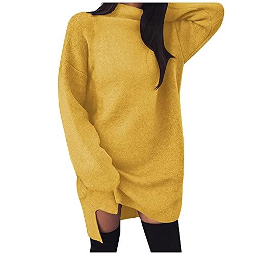Vestido midi de manga larga para mujer, con cuello alto, estilo casual, vestido de fiesta de noche, A amarillo., L