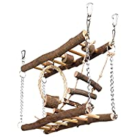 Small pet to more adventures with the Suspension Bridge Made with safe natural wood material Two wooden ladders with a rope ladder and a sisal ring with a wooden block hanging down between them Great for exercise Perfect playground for hamsters, gerb...
