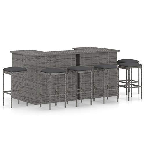 vidaXL Bar-Set für Gartenmöbel, 8 Stück, Sitzkissen, Tisch, Terrasse, Bistro, Möbel, Rattan, Kunststoff, Grau