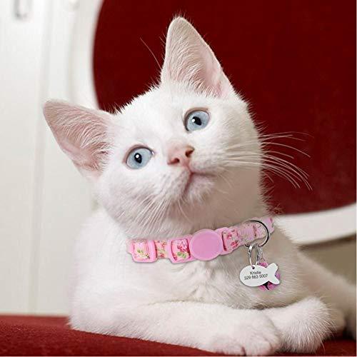 ZXFMT Gepersonaliseerde huisdier kattenhalsband met klok bloemen aangepaste halsbanden voor katten puppy's ID naambord katten halsband halsketting voor kleine huisdieren