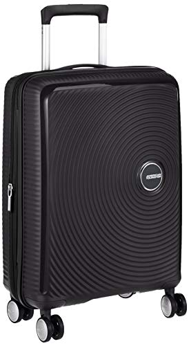 AMERICAN TOURISTER Soundbox - Spinner L Espandibile Bagaglio a Mano, Spinner S (55 cm - 41 L), Nero (Bass Black)