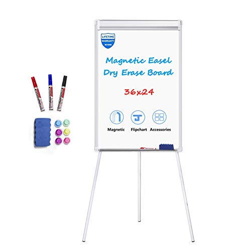 White Board Easel Stand Magnetic Whiteboard Flipchart Tripod Easel Height Adjustable Dry Erase Board with 1 Eraser, 3 Markers, 6 Magnets, 24x36 inches, Silver