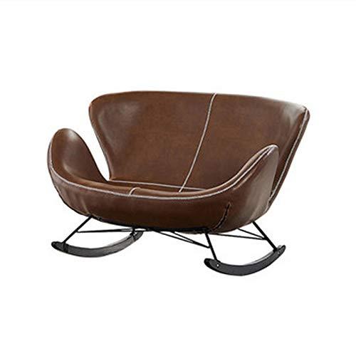 Dfghbn Schaukelstühle Doppelt schaukeln Stuhl Recliner Erwachsene Faule Sofa Nordic Home Wohnzimmer Balkon Lounge Stuhl einfache Rocking schaukeln (Farbe : Braun, Size : 125x85x110cm)