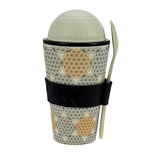 ebos gobelet de muesli à emporter en Bambou, Bol de céréales, gobelet de Yaourt, Tasse de Voyage INCL. cuillère, respectueux de l'environnement, adapté pour Lave-Vaisselle (Fleur de Vie Noir et Or)