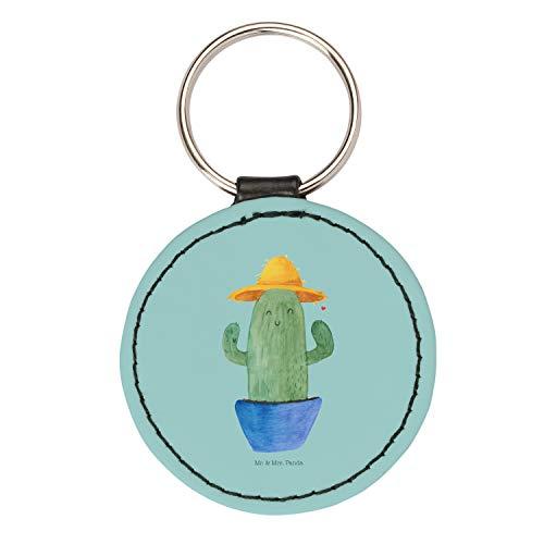 Mr. & Mrs. Panda Anhänger, Schlüsselband, Rund Schlüsselanhänger Kaktus Sonnenhut - Farbe Türkis Pastell