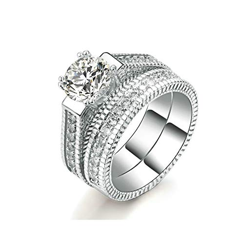 LXBIN Engagement Wedding Ring Sets for Women 925 Sterling Silver Cubic Zirconia Bridal Ring Sets