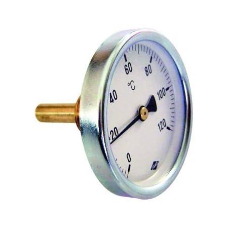 Bimetall Thermometer Zeigerthermometer 0 C Bis 120 C Mit Tauchhülse Heizung Warmwasserspeicher Baumarkt