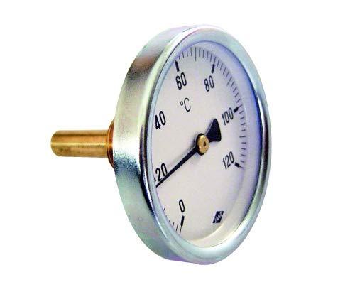 Bimetall Thermometer Zeigerthermometer 0°C bis 120°C mit Tauchhülse Heizung Warmwasserspeicher