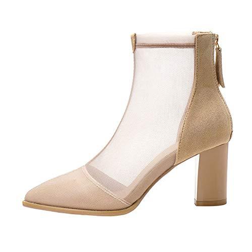 [QIAGE] サマーブーツ ブーツサンダル 太ヒール 歩きやすい 大きサイズ 22.0CM~25.0CM メッシュ 透かし 杏色 美脚 ブーツ レディース 靴 夏ブーツ ポインテッドトゥ ブーティ メッシュ ブーサン 23.5cm シースルー セクシー おしゃれ