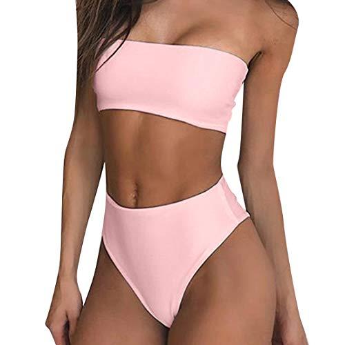 RUUHEE Women Bandeau High Waisted Two Piece Swimsuits Bikini Set High Cut (M(US Size 6-8),Pink-3)