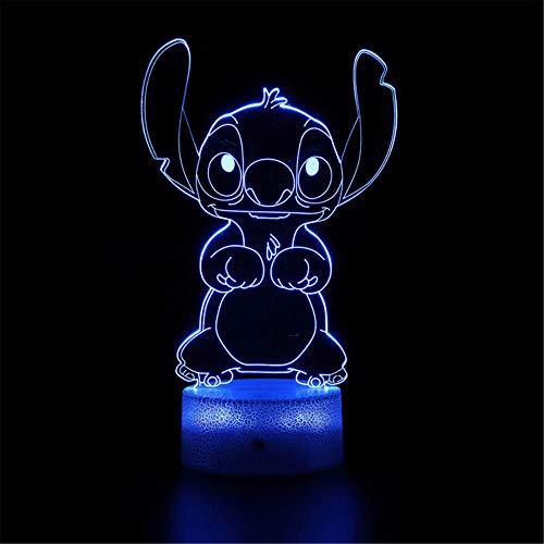 Luz nocturna 3D LED lámpara de ilusión óptica Lilo y Stitch 16 luces de ilusión óptica que cambian de color con acrílico plano, base ABS, cable USB para vacaciones