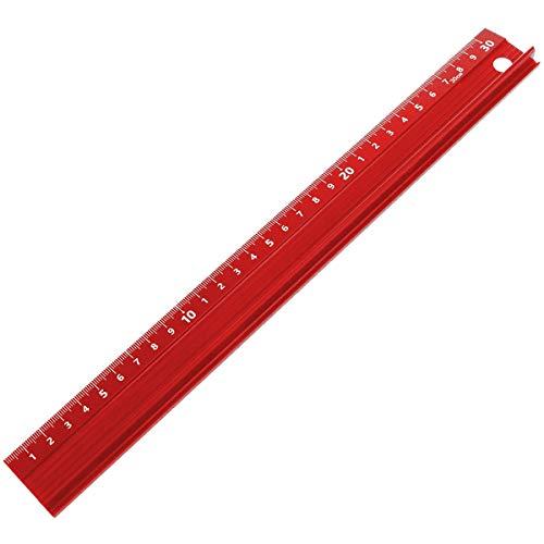カッターガイド I3Cカッター定規 曲尺 アルミスケール カッティング定規 カット カッターガイド 裁断定規 カッター用 アルミニウム合金製 赤 30CM