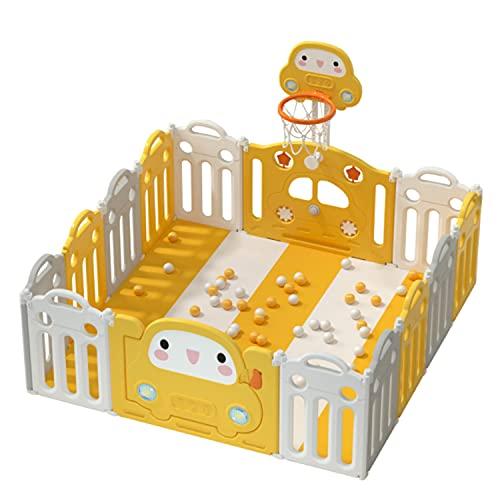 Babybox, Opvouwbare Babybox Antislip Rubberen Basen, Activiteitencentrum Veiligheidsspeelkleuring Met Afsluitbare Deur En Kaarten Gespen, Voor Binnenspeelboten Binnen(Size:16+2)