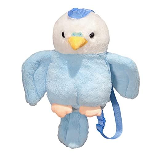 LTCTL Rucksack für Mädchen 40cm Niedlicher Plüsch Papagei Spielzeug Stofftier Vogel Rucksack Kawaii Cartoon Taschen Kinder für Mädchen (Color : Blue, Height : 40cm)