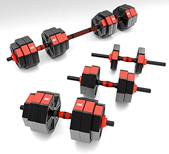 Bilanciere 30 kg e manubri hms, manubri componibili 30 kg, pesi fitness timebreak 107666-TR