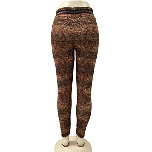 Mesyr Leggings voor de sportschool, bedrukt, goudkleurig, slim-print, yoga, elastisch, fitness, hoge taille, sportbroek, heupen, push-up S 1 x Polsband