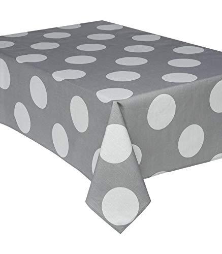 Nappe rectangulaire 145 x 240 cm - Coton enduit - Pois - Gris