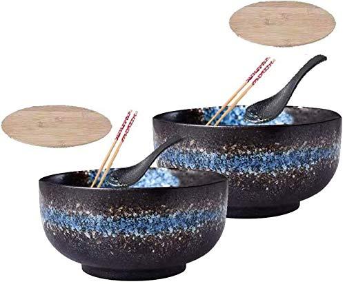 Japanische Keramik-Ramenschale, große Tiefe Innenschalen, 2er-Set, mit Deckel Löffel Essstäbchen, Ramen, Pho, Nudelsuppe, Udon, Donburi