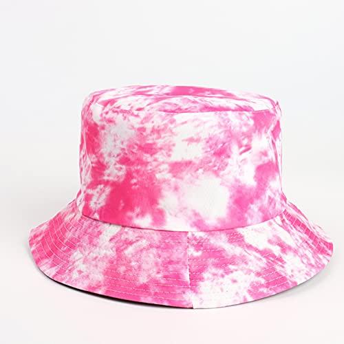 PKYGXZ Sombrero de Pescador con teñido Anudado de Doble Cara, Sombreros de Cubo con Estampado en Color para Mujer, Gorra de Visera de Deporte al Aire Libre de Moda, Sombrero de Playa Plano de Hip Hop
