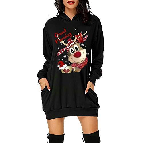 GOKOMO Damenmode Weihnachts Kleider Damen festlich Hoodie Tasche Hip Pocket Print...