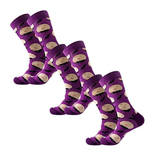 YWLINK Calcetines De Halloween 3 Par De Medias De CompresióN con PatróN De Calavera Calcetines Largos Moda Calcetines De Halloween Hombre Mujer Medias De AlgodóN Calcetines Largos (C, 3PC)