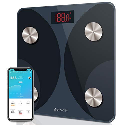 Etekcity - Báscula de Peso Digital Inteligente para baño, analizador de Grasa Corporal, 12 composiciones Clave, 400 Libras, Color Negro