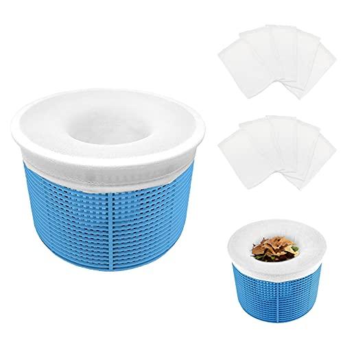 Aiglam Calcetines Skimmer Piscina, 10 Piezas Calcetines Protectores para Filtros de Piscina para Cesta de Filtro Skimmer, Forro de Malla de Malla Ultra Fina para Cesta de Piscina