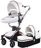 3 en 1 cochecito de bebé, sistema de viaje con bassinet, cuero de cuero de PU Alto paisaje de altura con ángulo de altura de asiento ajustable, absorción de choque de cuatro ruedas