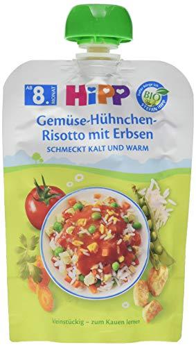 Hipp Bio Herzhafte Menü-Quetschbeutel ab 8. Monat Gemüse-Hühnchen-Risotto mit Erbsen, 6er Pack (6 x 130 g)